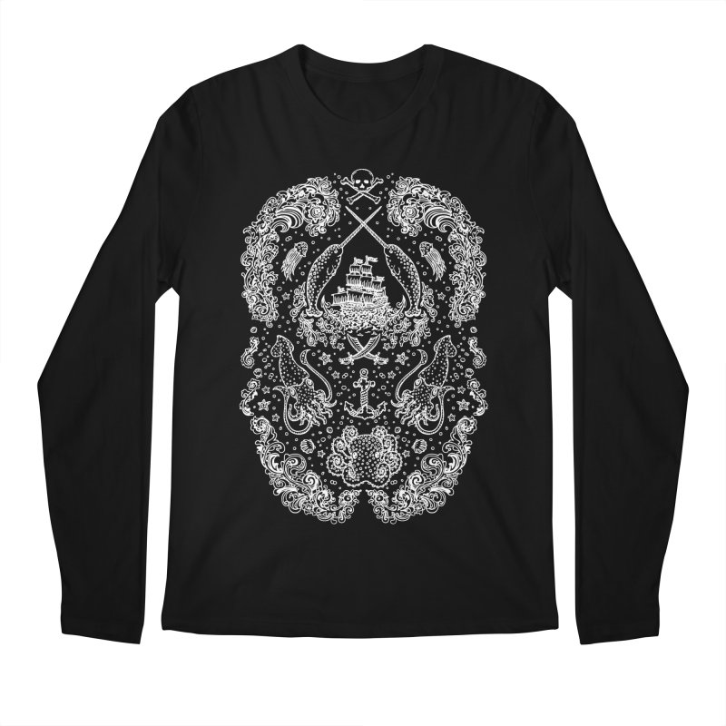 Narwhal Pirates White Print Men's Longsleeve T-Shirt by Teja Jamilla's Artist Shop