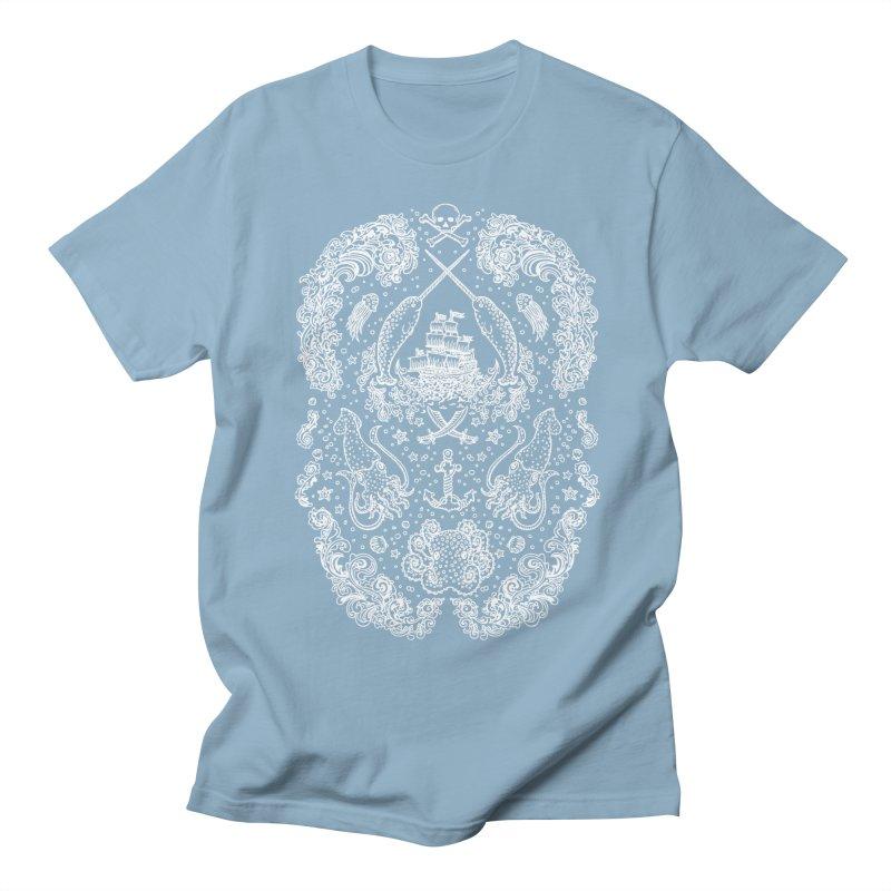 Narwhal Pirates White Print Men's T-shirt by Teja Jamilla's Artist Shop