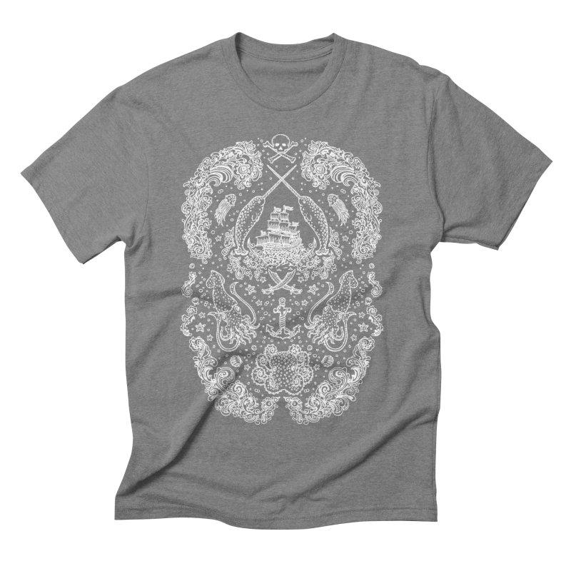 Narwhal Pirates White Print Men's Triblend T-Shirt by Teja Jamilla's Artist Shop