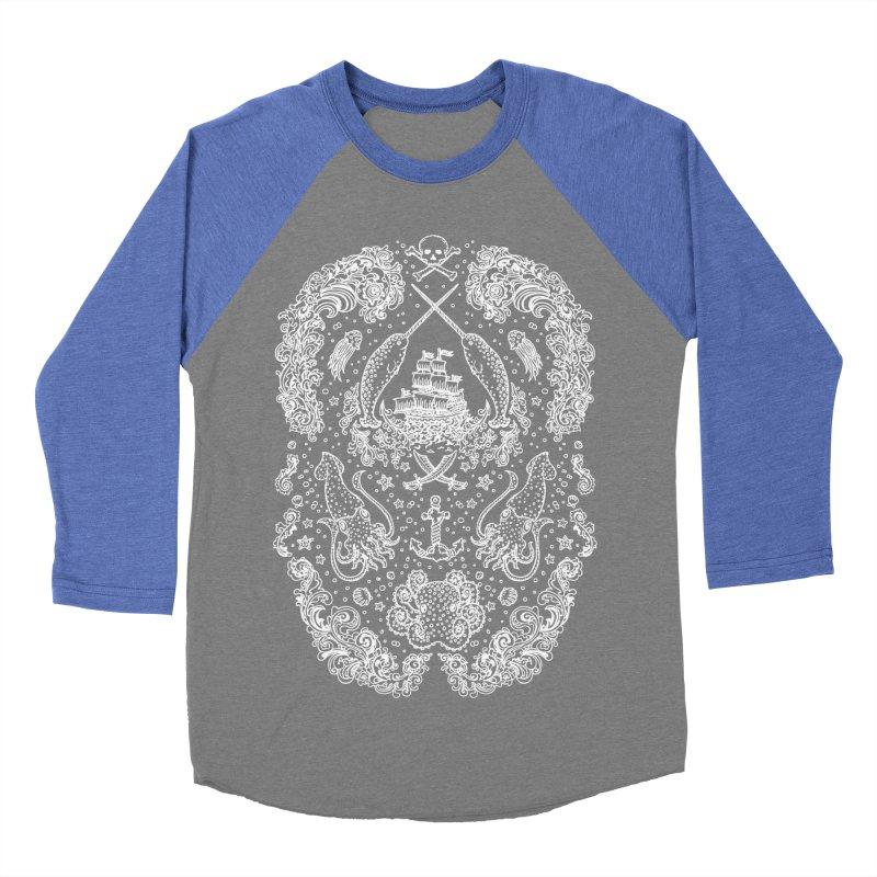 Narwhal Pirates White Print Women's Baseball Triblend T-Shirt by Teja Jamilla's Artist Shop