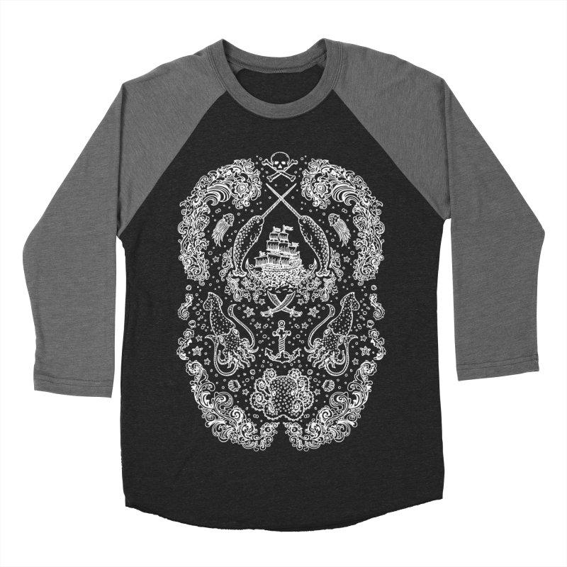 Narwhal Pirates White Print Men's Baseball Triblend T-Shirt by Teja Jamilla's Artist Shop