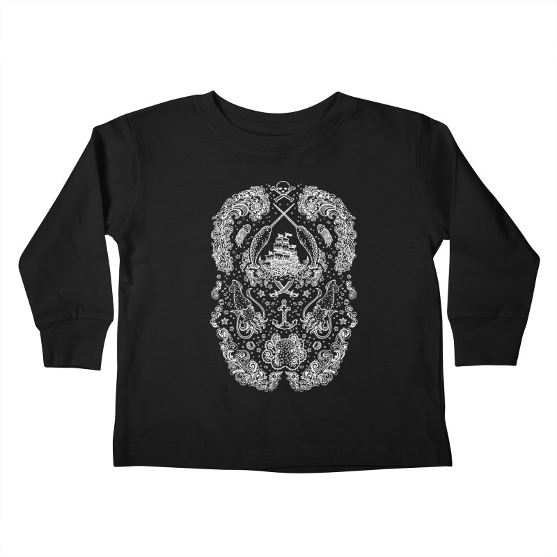 Narwhal Pirates White Print Kids Toddler Longsleeve T-Shirt by Teja Jamilla's Artist Shop
