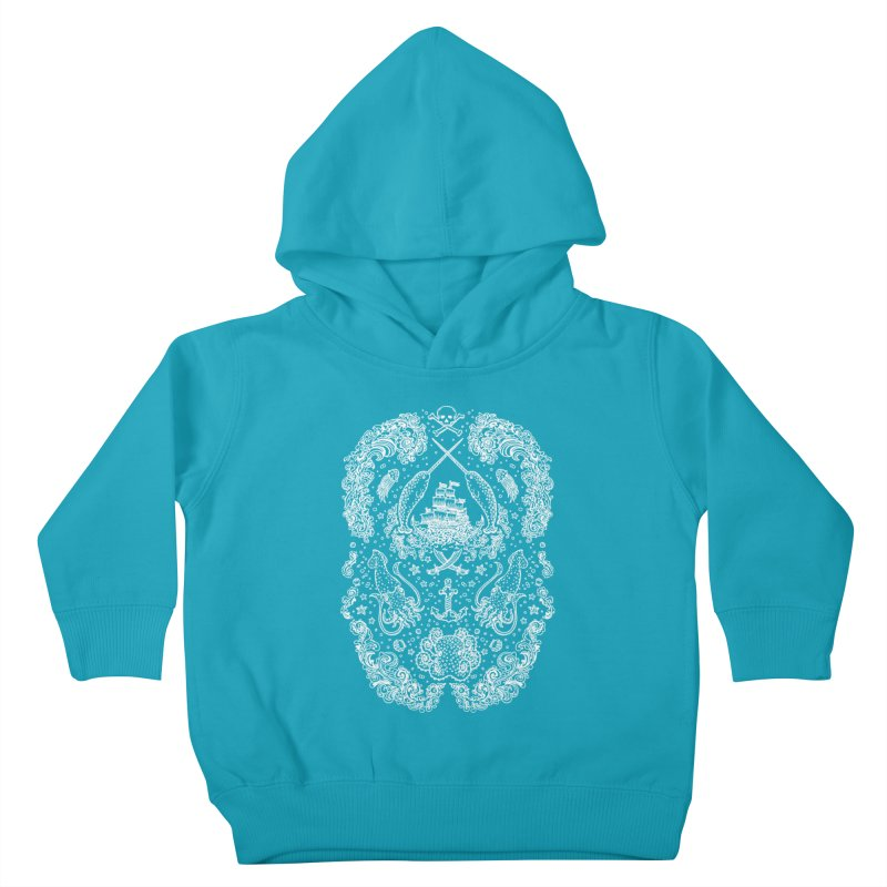 Narwhal Pirates White Print Kids Toddler Pullover Hoody by Teja Jamilla's Artist Shop