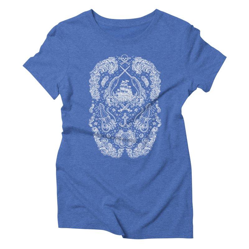 Narwhal Pirates White Print Women's Triblend T-shirt by Teja Jamilla's Artist Shop
