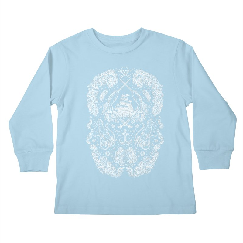 Narwhal Pirates White Print Kids Longsleeve T-Shirt by Teja Jamilla's Artist Shop