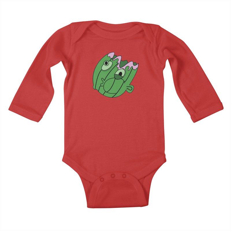 melonhead Kids Baby Longsleeve Bodysuit by TenAnchors's Artist Shop