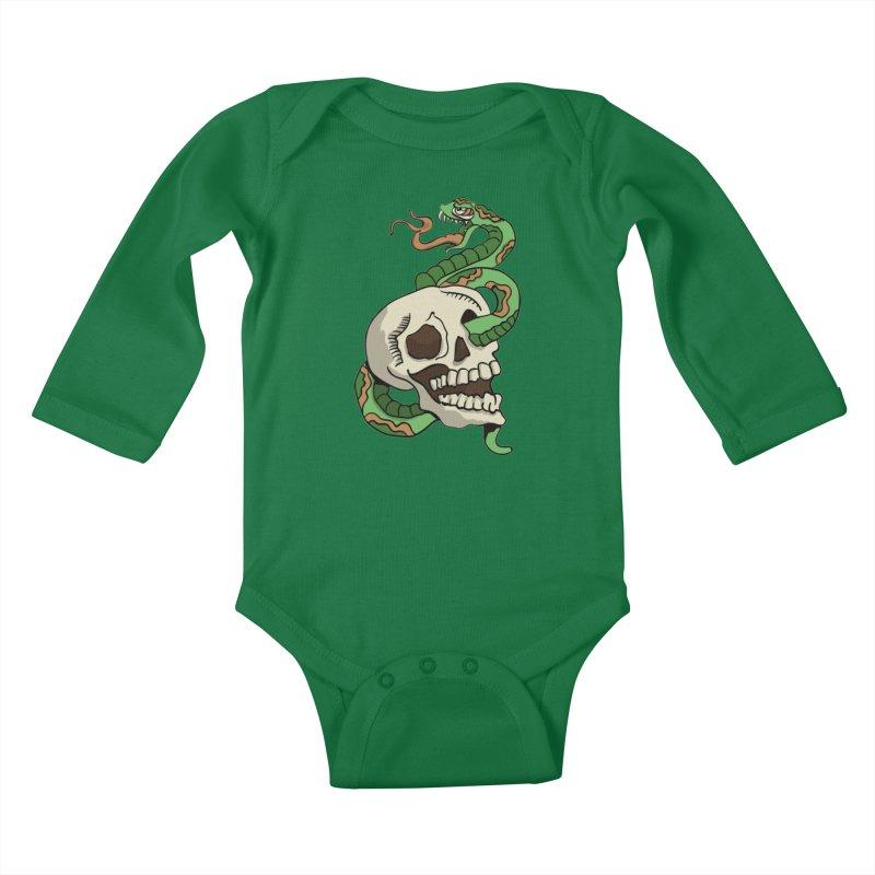 Snake 'n' Skull Kids Baby Longsleeve Bodysuit by TenAnchors's Artist Shop