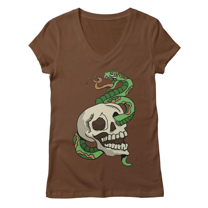 Snake 'n' Skull Women's V-Neck by TenAnchors's Artist Shop