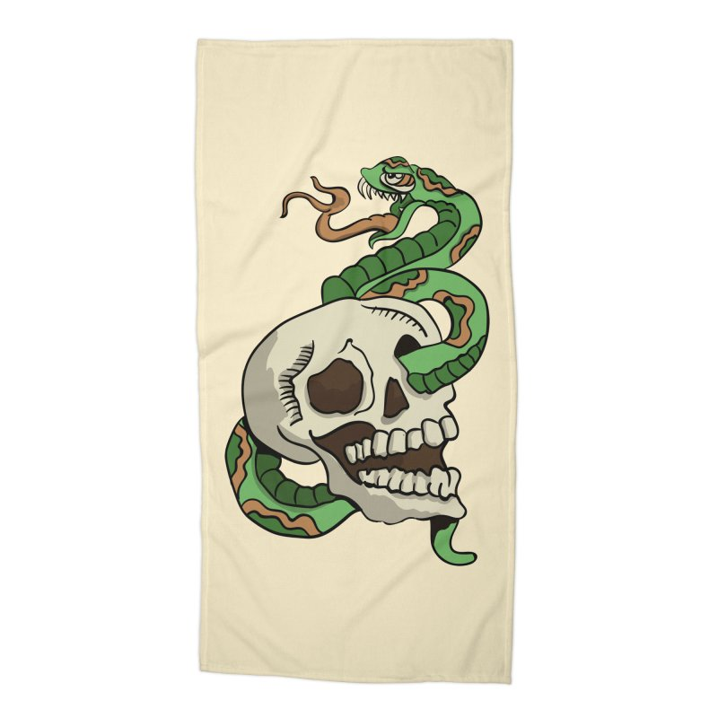 Snake 'n' Skull Accessories Beach Towel by TenAnchors's Artist Shop