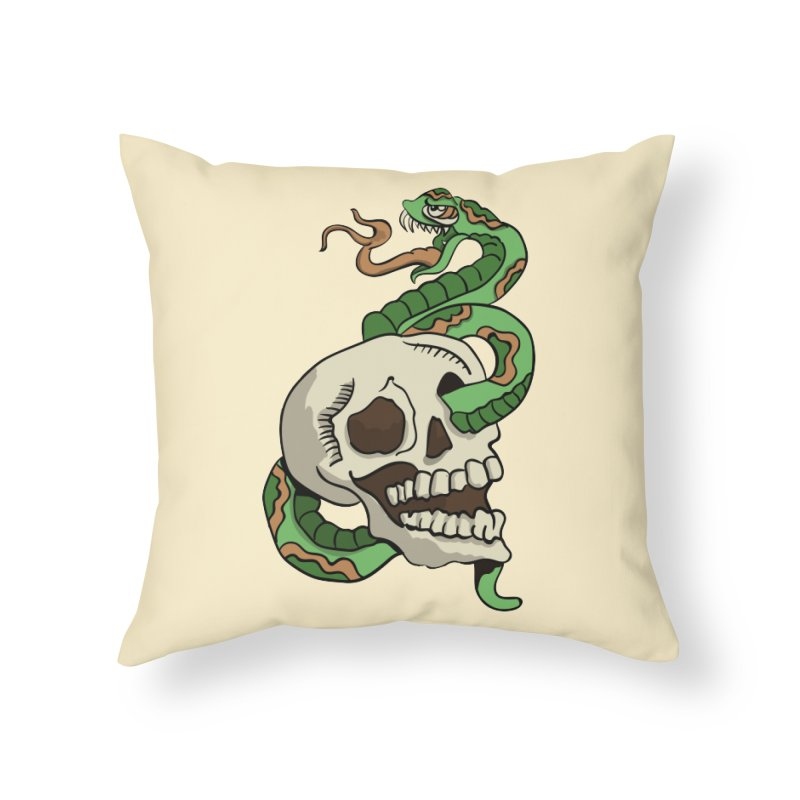 Snake 'n' Skull Home Throw Pillow by TenAnchors's Artist Shop
