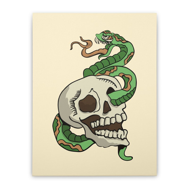 Snake 'n' Skull Home Stretched Canvas by TenAnchors's Artist Shop