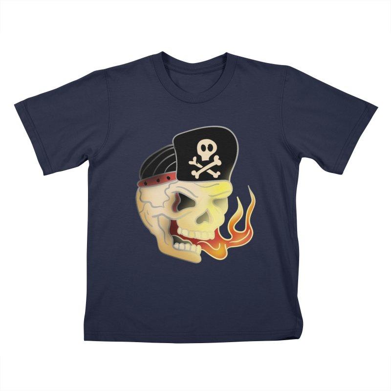 Skull Skate Punk Kids T-Shirt by TenAnchors's Artist Shop