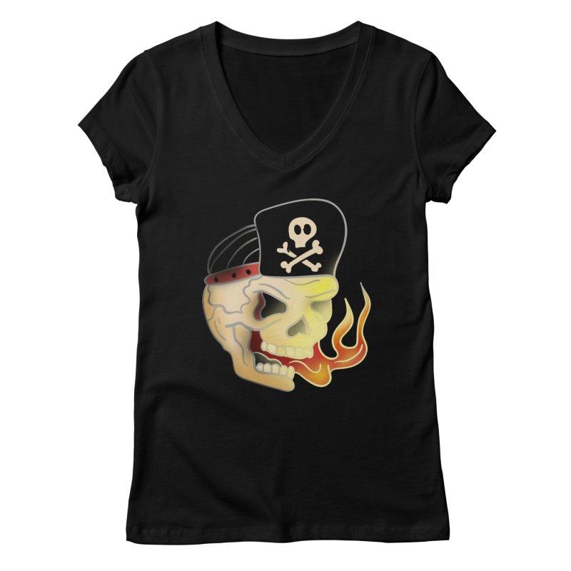 Skull Skate Punk Women's V-Neck by TenAnchors's Artist Shop
