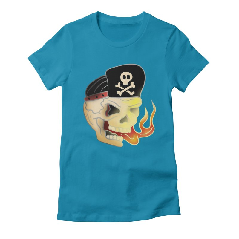 Skull Skate Punk Women's Fitted T-Shirt by TenAnchors's Artist Shop