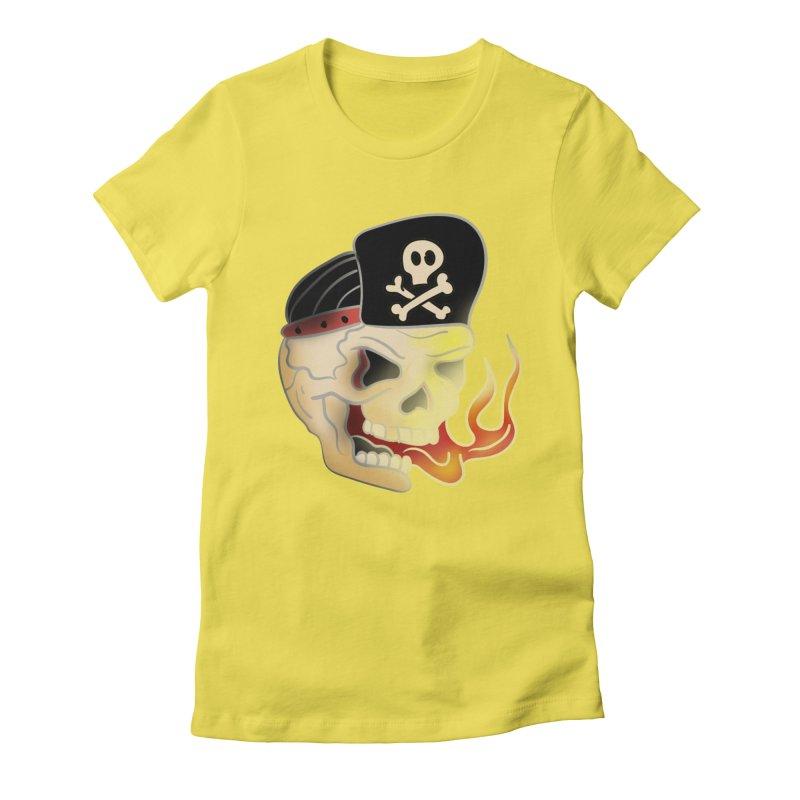 Skull Skate Punk Women's Fitted T-Shirt by TenAnchors's Artist Shop