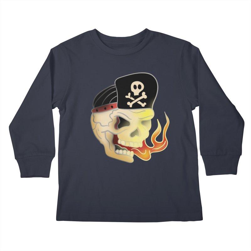 Skull Skate Punk Kids Longsleeve T-Shirt by TenAnchors's Artist Shop