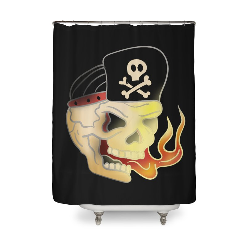 Skull Skate Punk Home Shower Curtain by TenAnchors's Artist Shop