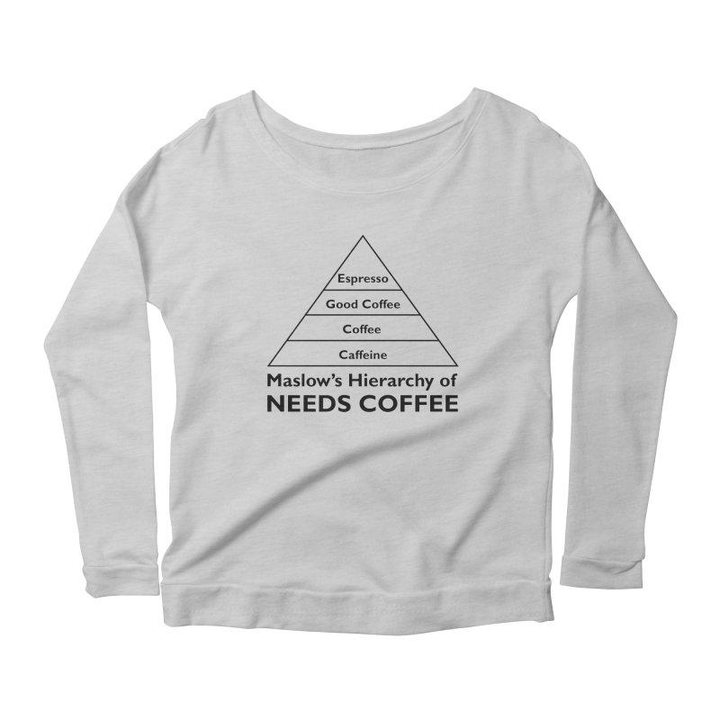 Maslow's Hierarchy of Needs Coffee Women's Scoop Neck Longsleeve T-Shirt by TenEastRead's Artist Shop