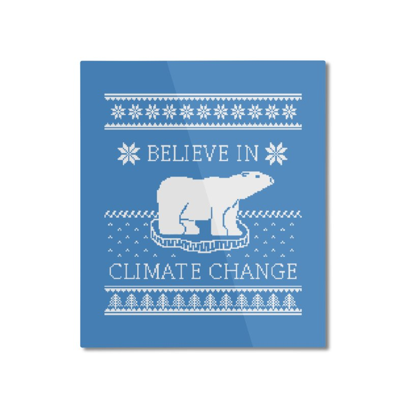 Polar Bears Against Climate Change Ugly Sweater Home Mounted Aluminum Print by TenEastRead's Artist Shop