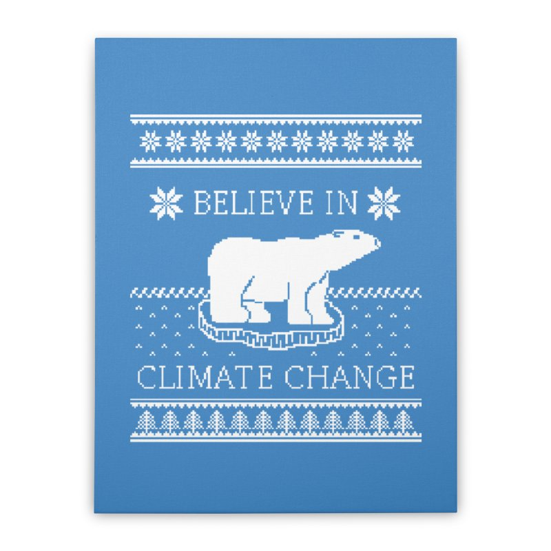 Polar Bears Against Climate Change Ugly Sweater Home Stretched Canvas by TenEastRead's Artist Shop