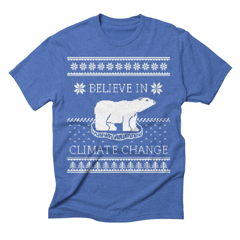 Polar Bears Against Climate Change Ugly Sweater Men's Triblend T-Shirt by TenEastRead's Artist Shop