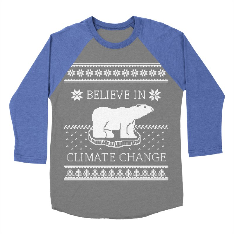 Polar Bears Against Climate Change Ugly Sweater Men's Baseball Triblend Longsleeve T-Shirt by TenEastRead's Artist Shop