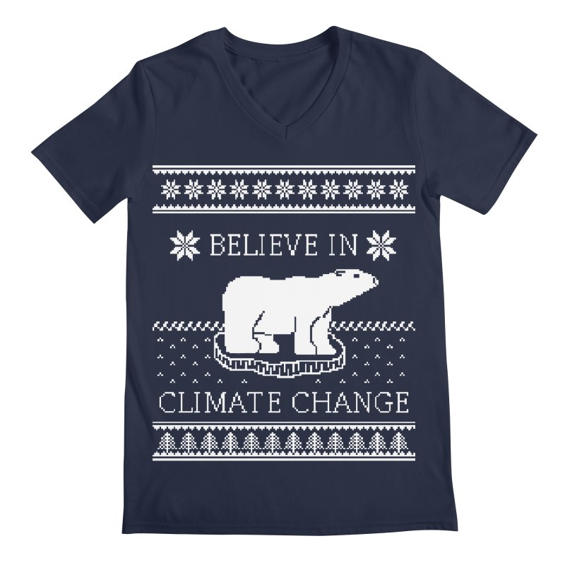 Polar Bears Against Climate Change Ugly Sweater Men's V-Neck by TenEastRead's Artist Shop