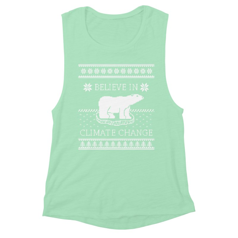 Polar Bears Against Climate Change Ugly Sweater Women's Muscle Tank by TenEastRead's Artist Shop