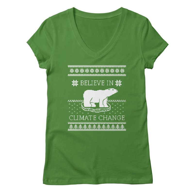 Polar Bears Against Climate Change Ugly Sweater Women's V-Neck by TenEastRead's Artist Shop