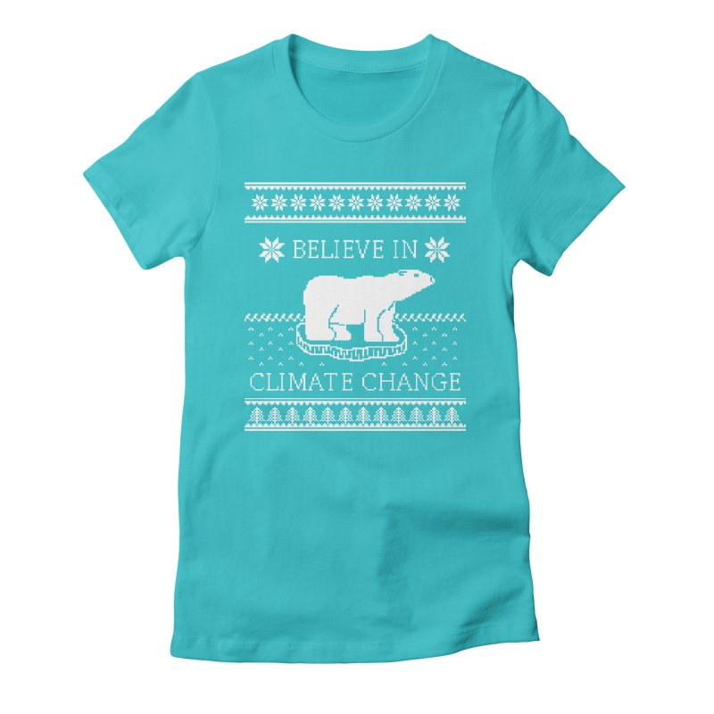Polar Bears Against Climate Change Ugly Sweater Women's Fitted T-Shirt by TenEastRead's Artist Shop