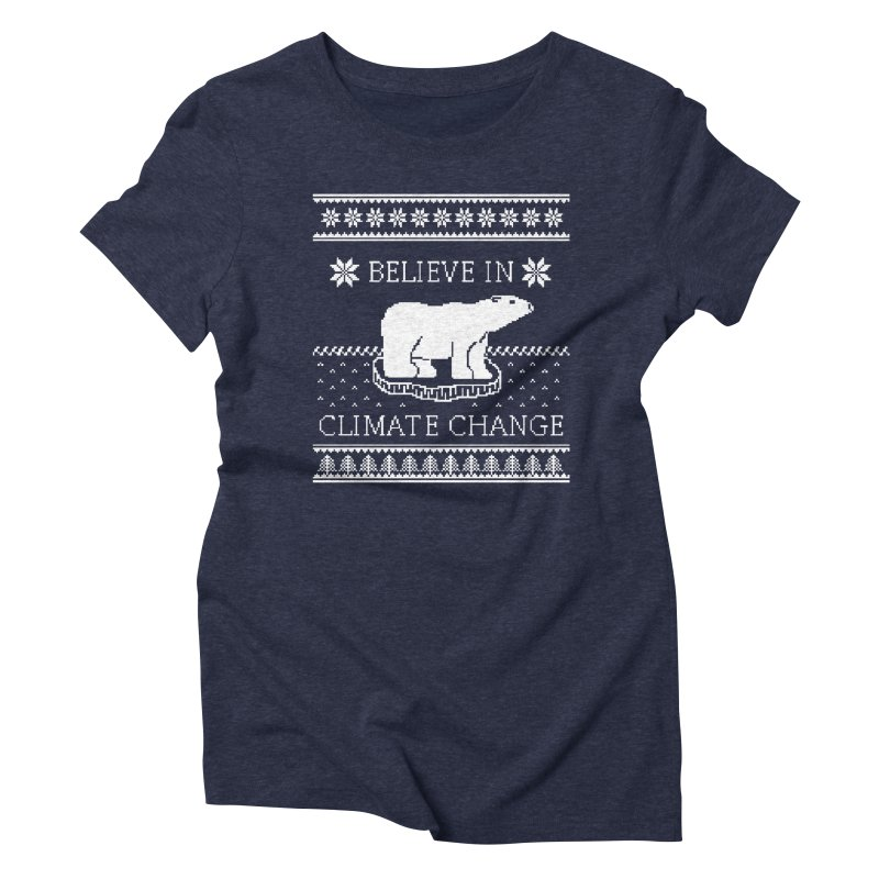 Polar Bears Against Climate Change Ugly Sweater Women's Triblend T-Shirt by TenEastRead's Artist Shop
