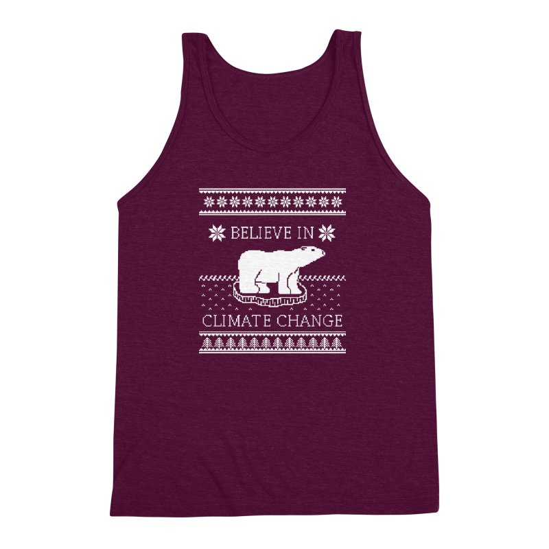 Polar Bears Against Climate Change Ugly Sweater Men's Triblend Tank by TenEastRead's Artist Shop