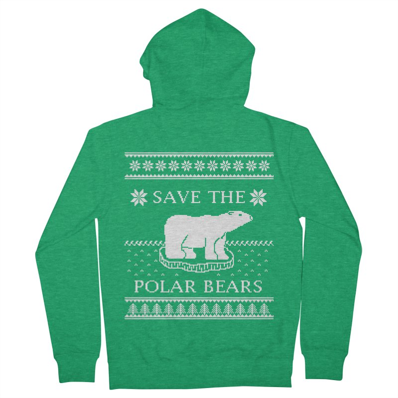 Save The Polar Bears Ugly Sweater Tee Women's French Terry Zip-Up Hoody by TenEastRead's Artist Shop