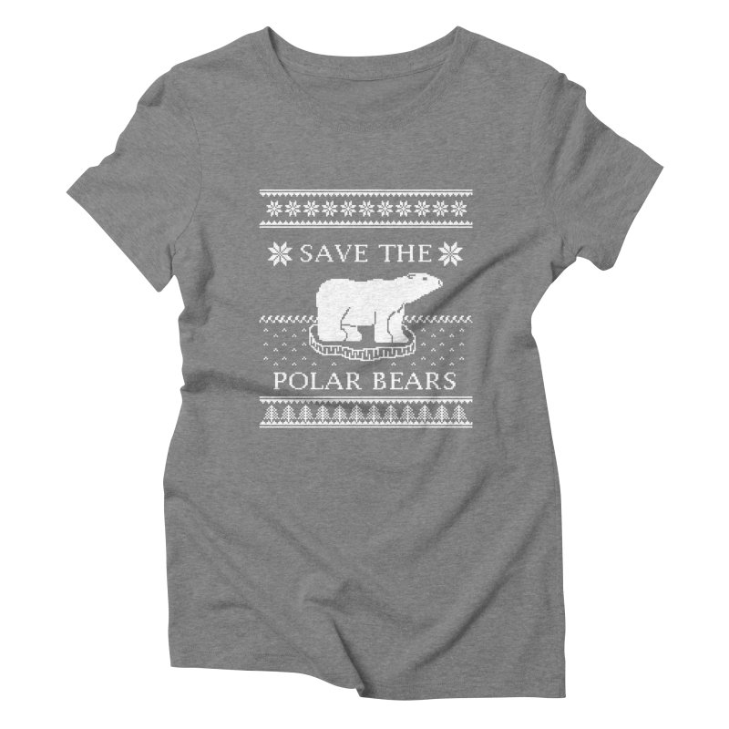 Save The Polar Bears Ugly Sweater Tee Women's Triblend T-Shirt by TenEastRead's Artist Shop