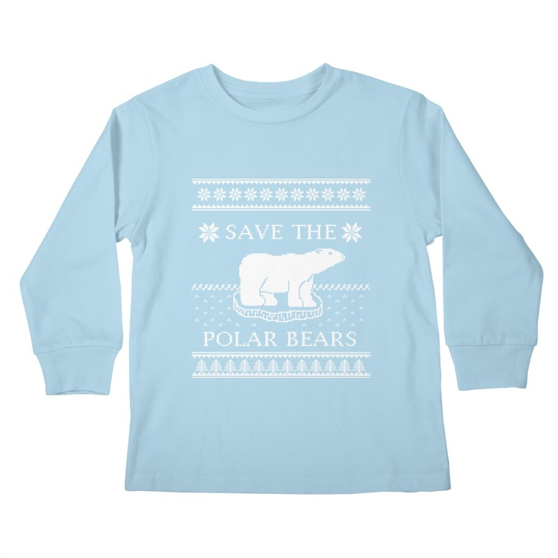 Save The Polar Bears Ugly Sweater Tee Kids Longsleeve T-Shirt by TenEastRead's Artist Shop