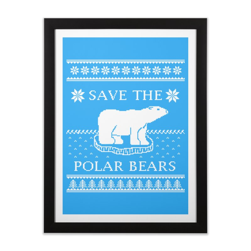 Save The Polar Bears Ugly Sweater Tee Home Framed Fine Art Print by TenEastRead's Artist Shop