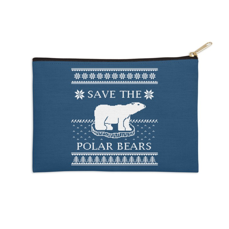 Save The Polar Bears Ugly Sweater Tee Accessories Zip Pouch by TenEastRead's Artist Shop