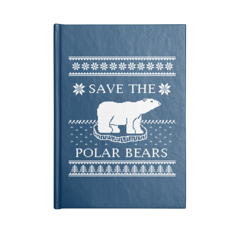Save The Polar Bears Ugly Sweater Tee Accessories Notebook by TenEastRead's Artist Shop
