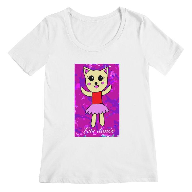 Ballerina cat Women's Scoopneck by Teresa's design's Artist Shop
