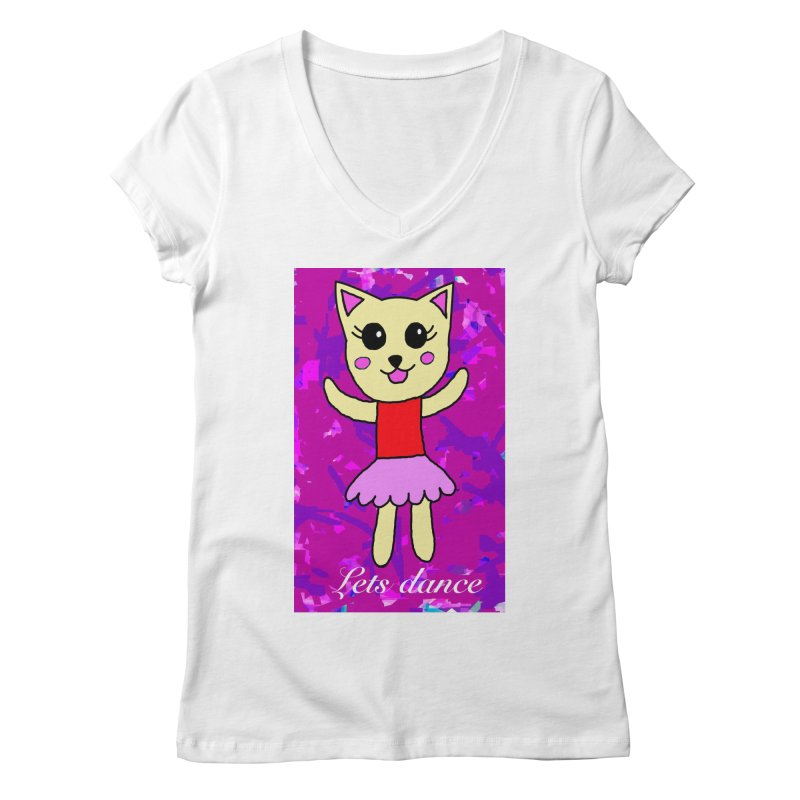 Ballerina cat Women's V-Neck by Teresa's design's Artist Shop