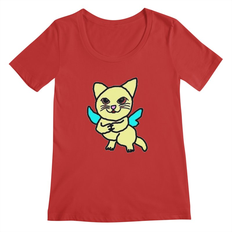 Fairy cat Women's Scoopneck by Teresa's design's Artist Shop