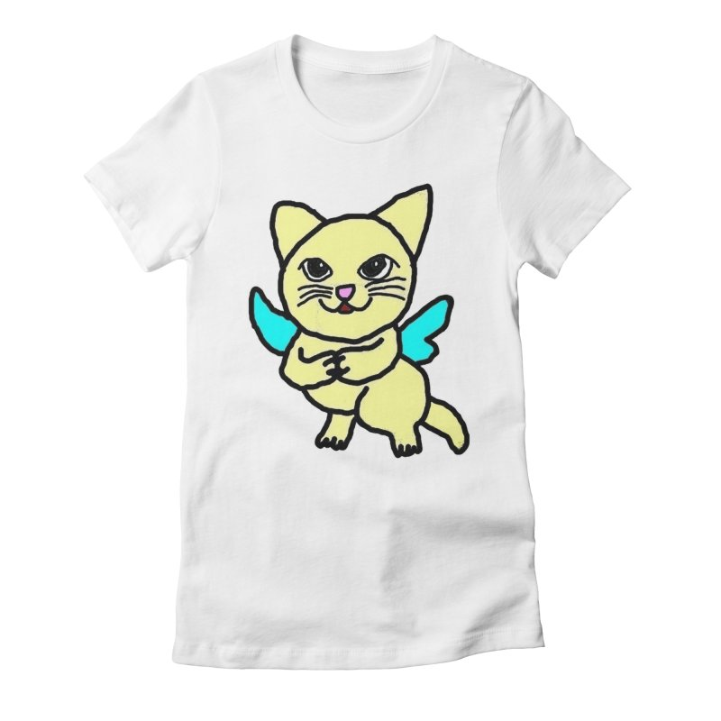 Fairy cat Women's Fitted T-Shirt by Teresa's design's Artist Shop