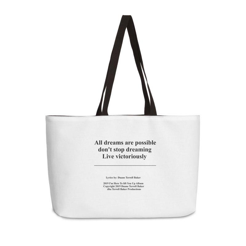 LiveVictoriouslyOption2_TerrellBaker2019ImHereToLiftYouUpAlbum_PrintedLyrics_05012019 Accessories Weekender Bag Bag by Duane Terrell Baker - Authorized Artwork, etc