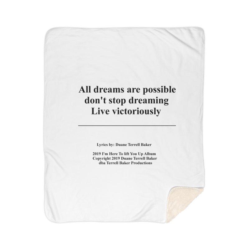 LiveVictoriouslyOption2_TerrellBaker2019ImHereToLiftYouUpAlbum_PrintedLyrics_05012019 Home Sherpa Blanket Blanket by Duane Terrell Baker - Authorized Artwork, etc