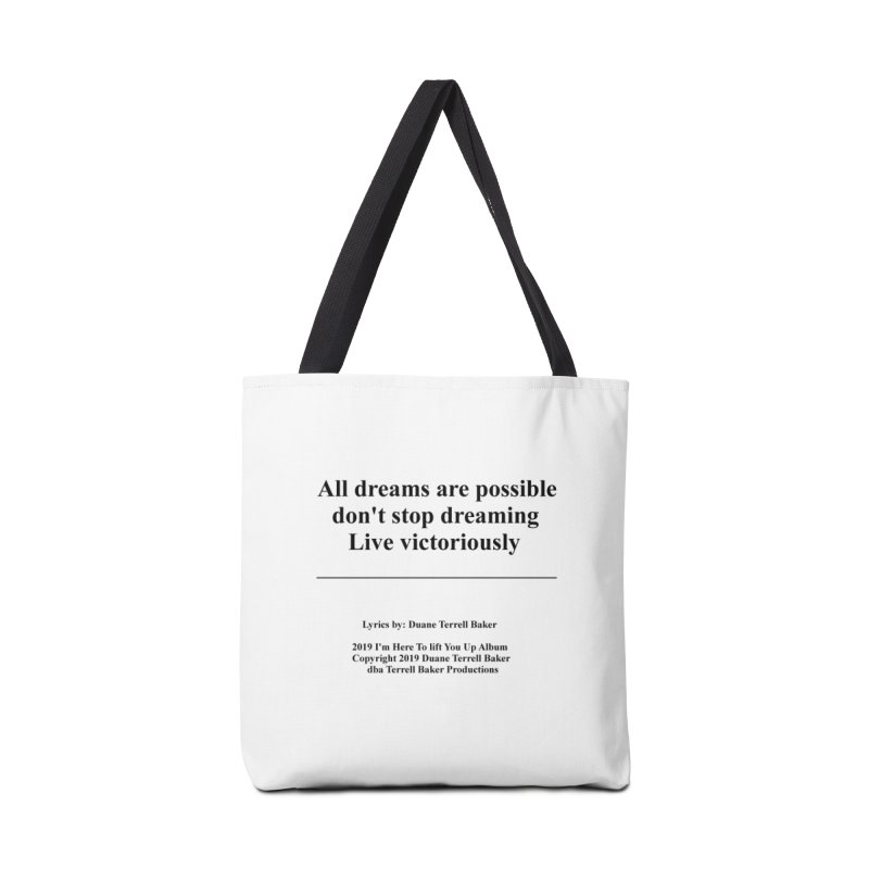 LiveVictoriouslyOption2_TerrellBaker2019ImHereToLiftYouUpAlbum_PrintedLyrics_05012019 Accessories Tote Bag Bag by Duane Terrell Baker - Authorized Artwork, etc