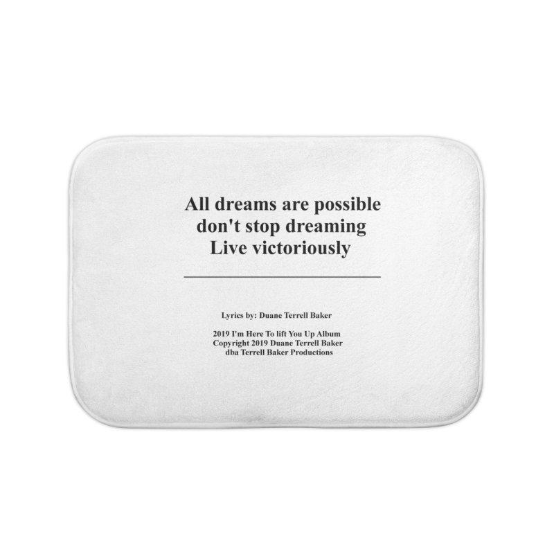 LiveVictoriouslyOption2_TerrellBaker2019ImHereToLiftYouUpAlbum_PrintedLyrics_05012019 Home Bath Mat by Duane Terrell Baker - Authorized Artwork, etc