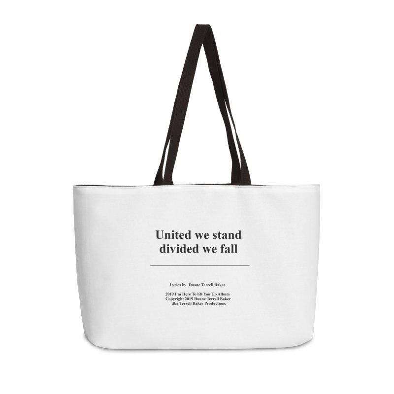 UnitedWeStand_TerrellBaker2019ImHereToLiftYouUpAlbum_PrintedLyrics_05012019 Accessories Bag by Duane Terrell Baker - Authorized Artwork, etc