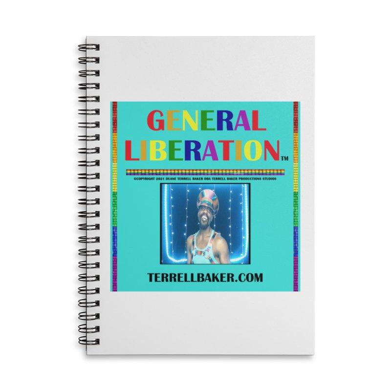 GENERALLIBERATIONALBUM_RAINBOWTEXT_ORIGINALARTWORKOPTION2_ARTISTPHOTOTERRELLBAKER_TEALBKDRP Accessories Notebook by Terrell Baker Productions Studios TerrellBaker.com
