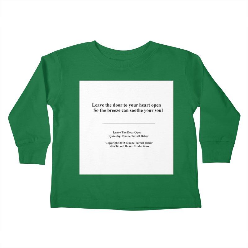 LeaveTheDoorOpen_TerrellBaker2018TroubleGetOuttaMyWayAlbum_PrintedLyrics_MerchandiseArtwork_04012019 Kids Toddler Longsleeve T-Shirt by Duane Terrell Baker - Authorized Artwork, etc