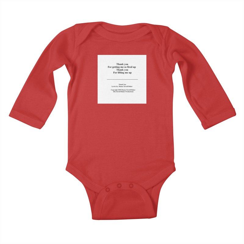 ThankYou_TerrellBaker2018TroubleGetOuttaMyWayAlbum_PrintedLyrics_MerchandiseArtwork_04012019 Kids Baby Longsleeve Bodysuit by Duane Terrell Baker - Authorized Artwork, etc